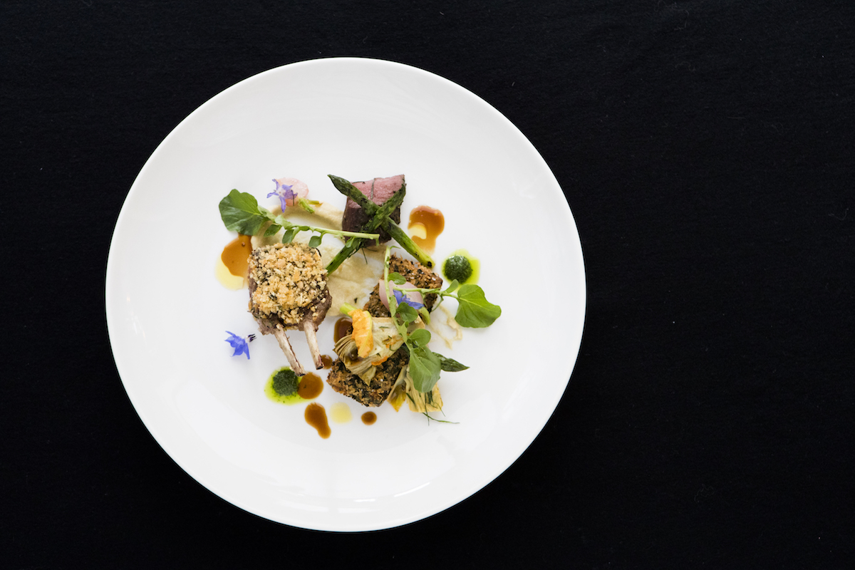 Hopgood's Restaurant dish: Silver Fern Farms lamb double cutlet and slow cooked shoulder with artichokes, asparagus, salted grapes and capers.