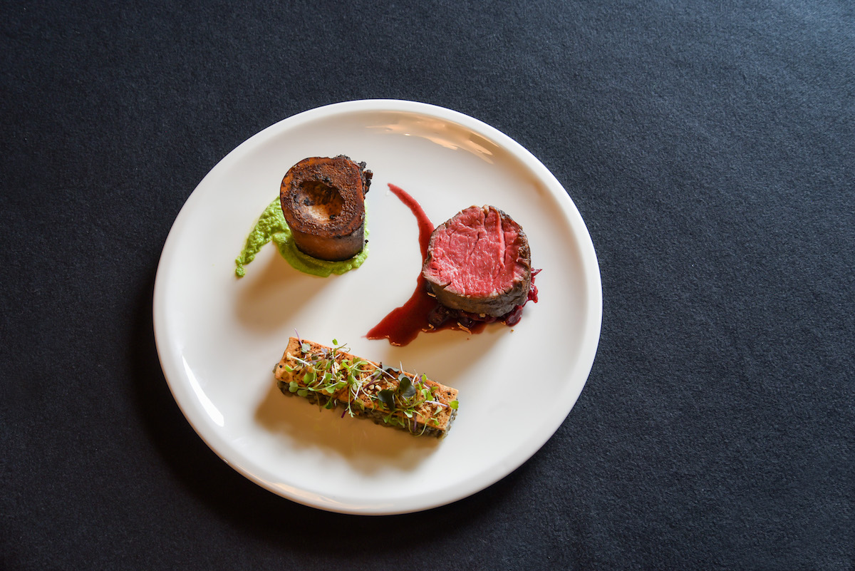 Pitches Cafe and Restaurant dish: Eye of the Mist - Silver Fern Farms Reserve eye fillet, beef cheeks, bone marrow.
