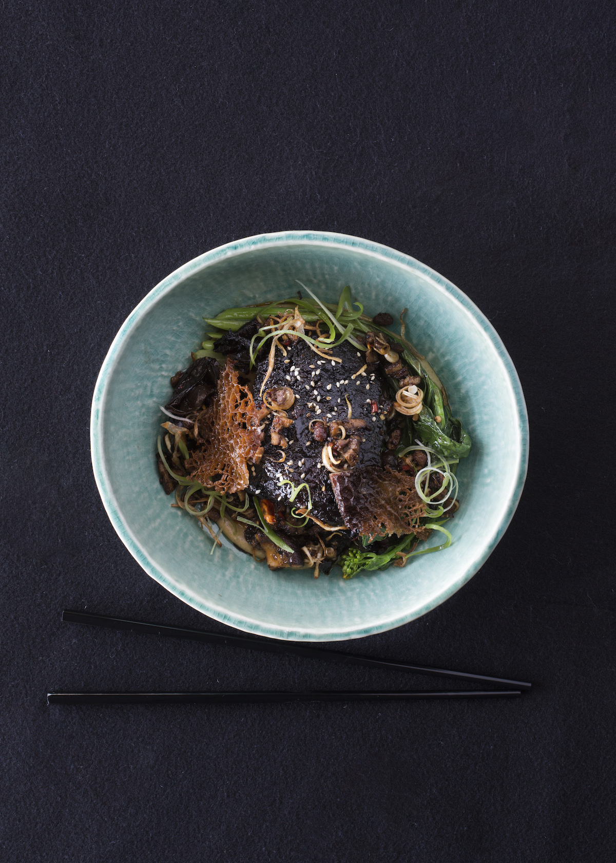 White + Wong's dish: Silver Fern Farms master stock braised beef cheek, eggplant miso and burnt butter puree, wok fried mushrooms with chilli and black vinegar, choi sum and crispy tripe.