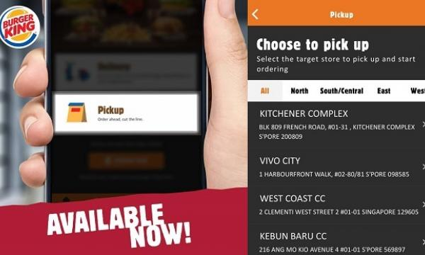 A screenshot of the Burger King app in Singapore