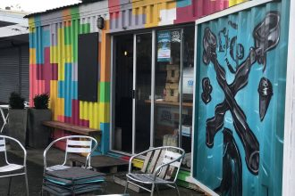 The exterior of the Waterview Coffee Project, housed in a shipping container