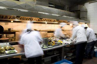 A busy kitchen scene