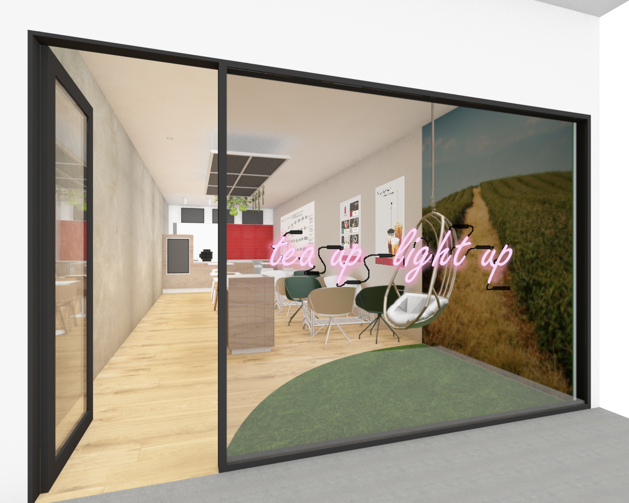 A 3D rendering of the new Gong Cha store in Takapuna