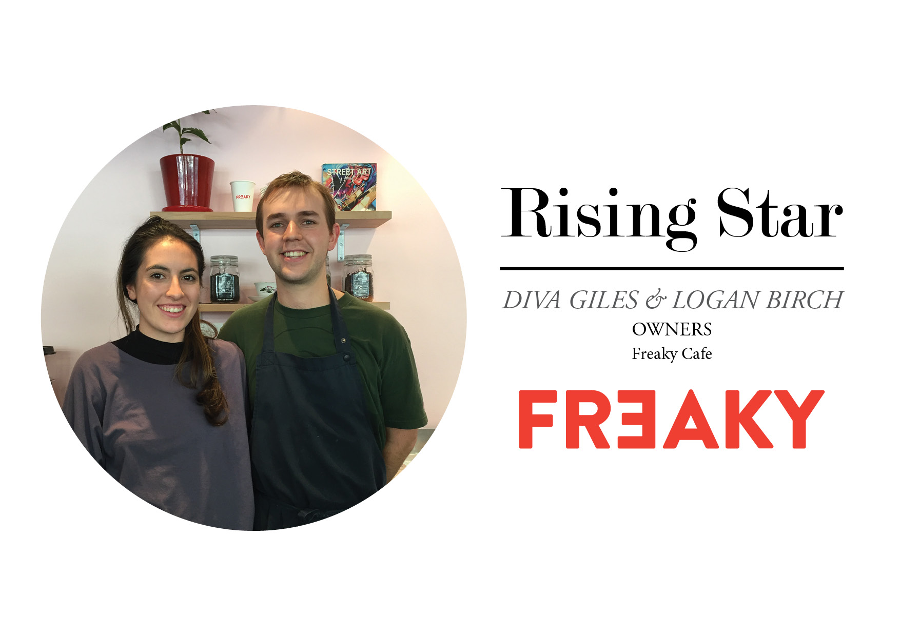 Diva Giles and Logan Birch stand in their cafe, Freaky