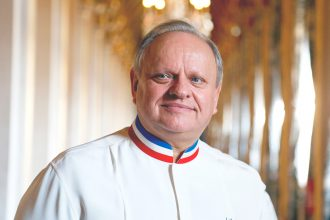 French chef Joel Robuchon in his chef outfit