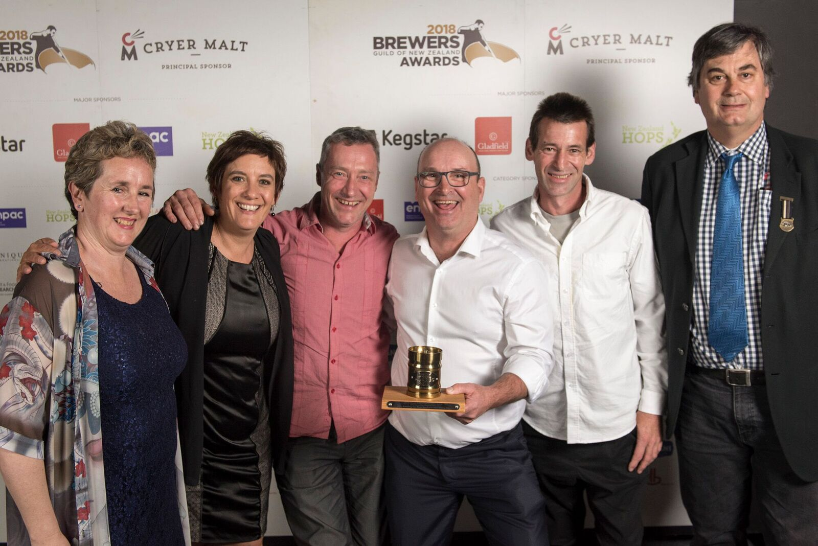 The team from Moa Beer celebrate their win