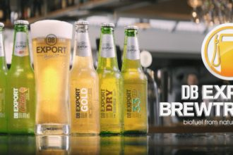 db export beers lined up in a promotional short for brewtroleum alternative fuel