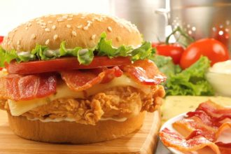 A chicken and bacon burger from Texas Chicken