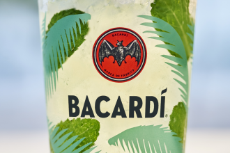A close-up of a glass of Bacardi mojito