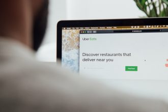 Uber eats opened in browser, image taken from over the shoulder