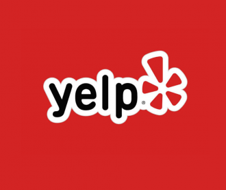 Yelp logo with red background