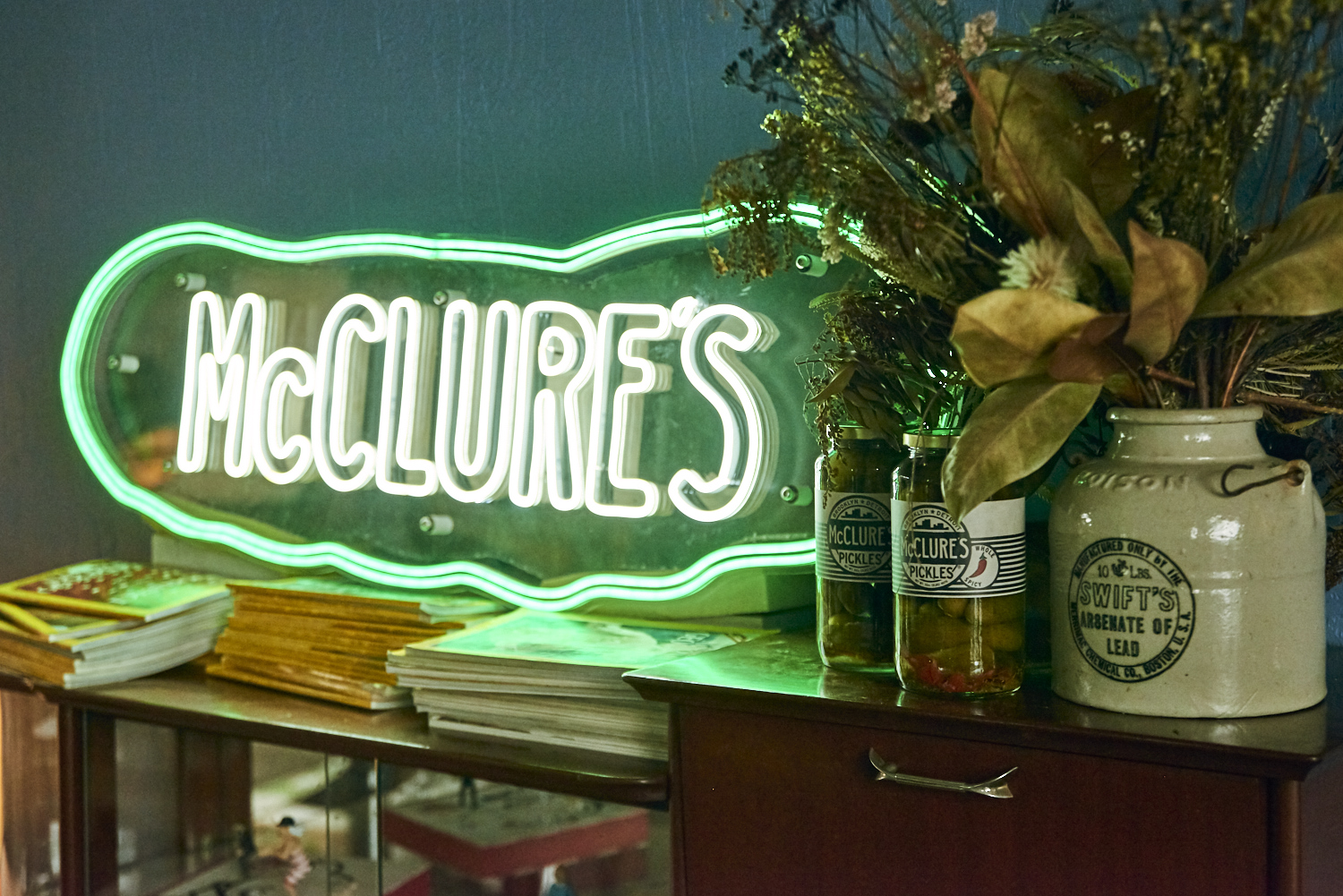Neon McClure's Pickle sign credit IVDM photogrpahy